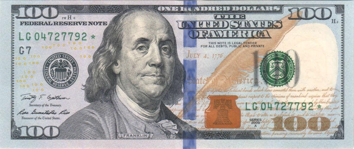 100ドル紙幣に描かれているフランクリン