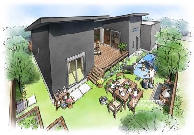 一戸建て住宅 木造住宅 パース 中庭 テラス デッキ 手書きパース 手描きパース フォトショップ photoshop