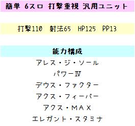 131【報酬期間】簡単!6スロ(打撃重視)汎用ユニット(打110 射法65 HP125 PP13)1