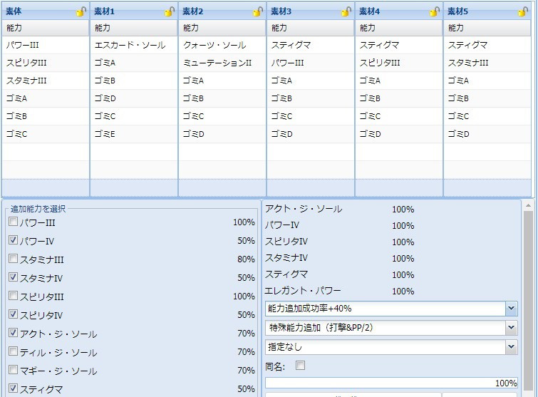 【報酬期間】PP盛りユニット特殊能力レシピ集2
