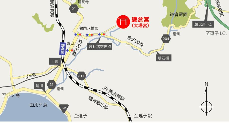 鎌倉宮への地図