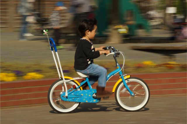 娘、自転車で走る