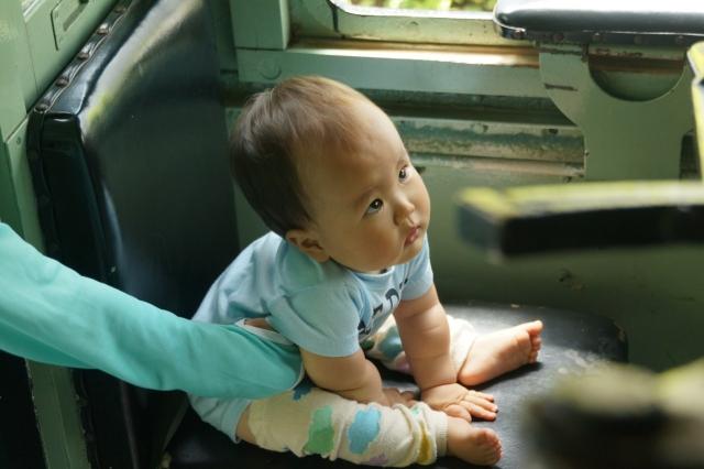 青梅鉄道公園のハチロクの機関士席に座って何かを狙っていそうな息子