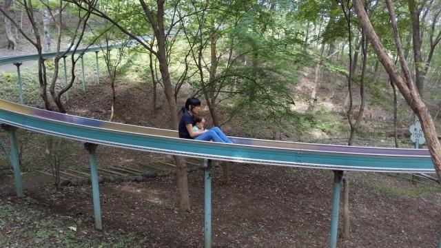 ローラーすべり台を滑る親子