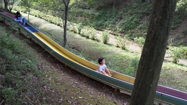 青梅の草木園のローラーすべり台を滑る子供とかみさん