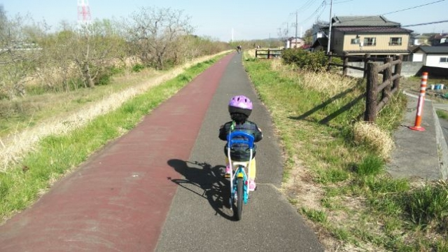 娘、自転車で河原を行く