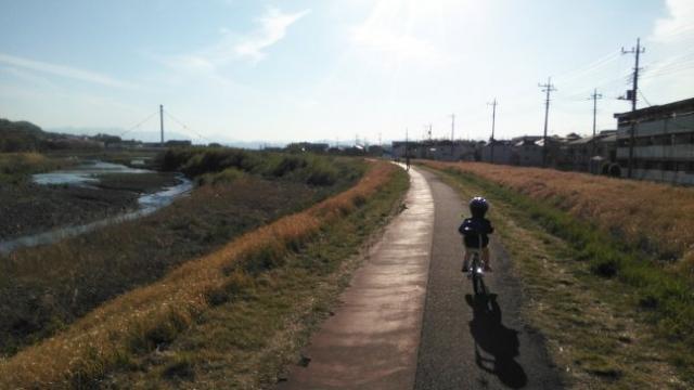娘、堤防を自転車で走る