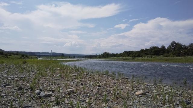 増水中 多摩川