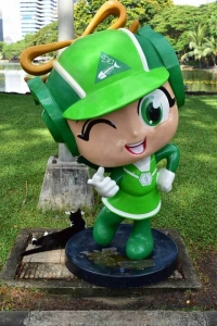 Bangkok Cat and Keep-the-Park-Clean mascot