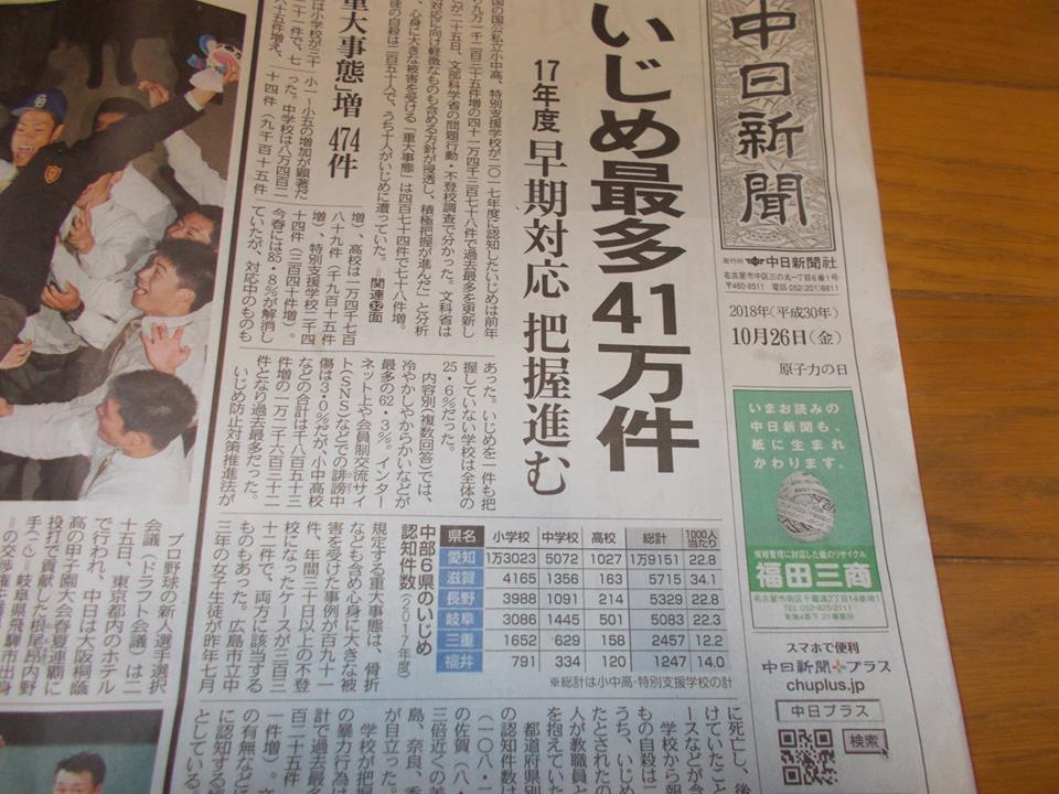 中日新聞2018年10月26日いじめ最多