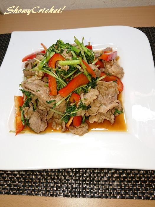 水菜のオイスターソース炒め (4)