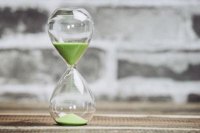 砂が緑の砂時計