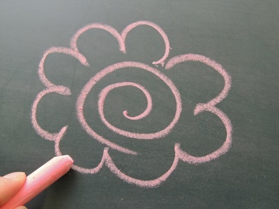 黒板に花丸