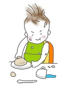 息子食事中イラスト