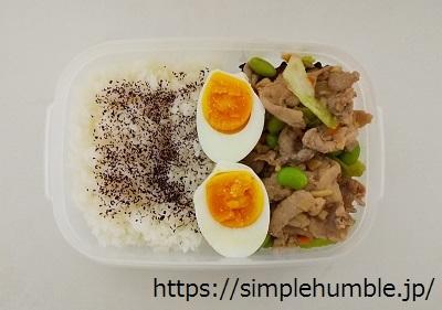 肉野菜炒め ゆで卵 弁当