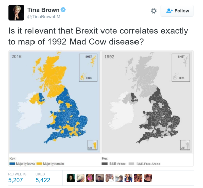 EU Brexit Election Fraud Map BSE Map なぜかEU離脱のイギリスの不正選挙の地図と狂牛病の地図が同じ 適当な地図を不正選挙の結果としてイギリスのダマスゴミが使用した可能性