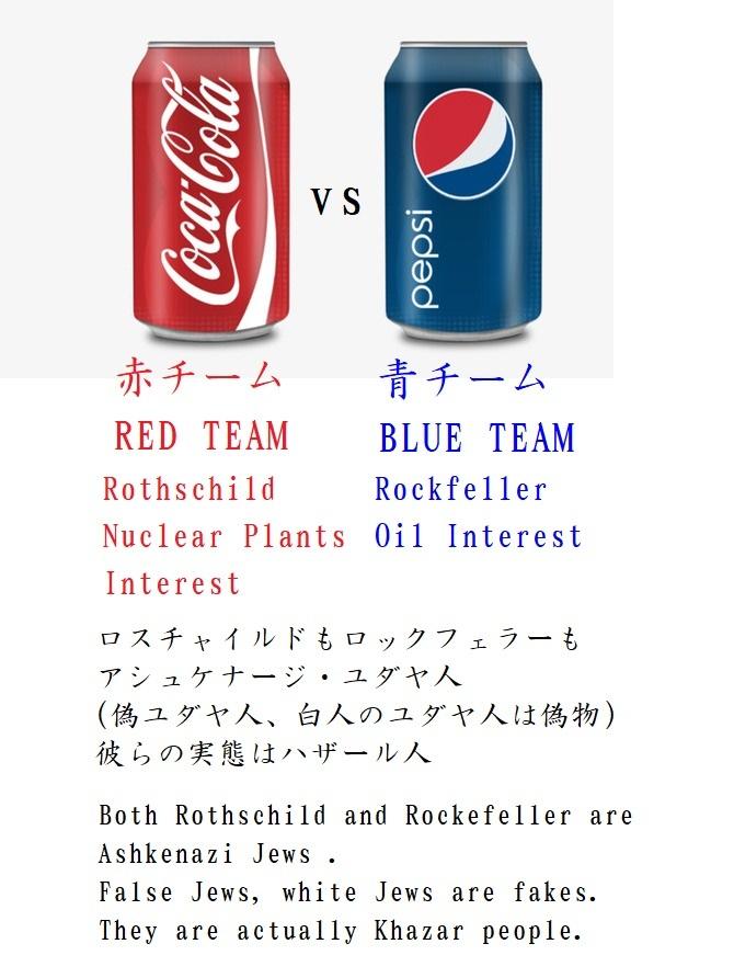 赤ロスチャイルドコカ・コーラ 青ロックフェラーペプシ Red team Rothschild VS Blue team Rockfeller