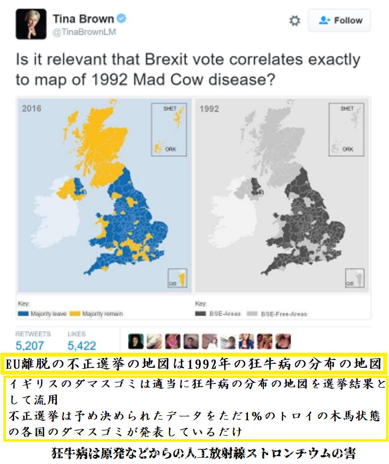 イギリスのEU離脱の不正選挙では狂牛病の分布が黒幕イギリスのダマスゴミにより流用 20190112073954c28