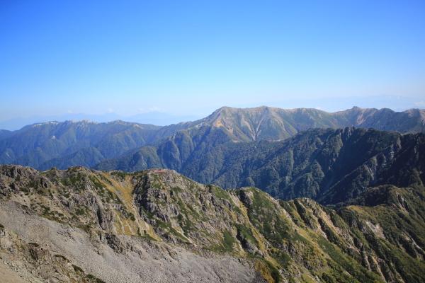 0927 稜線ヒュッテ大槍方向 登山道見える