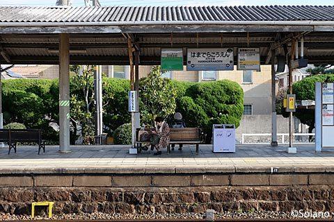 南海・浜寺公園駅、古い石積みが残るプラットホーム