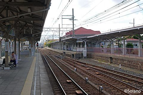 南海・浜寺公園駅、上りプラットホーム3番線と切り欠きの4番線