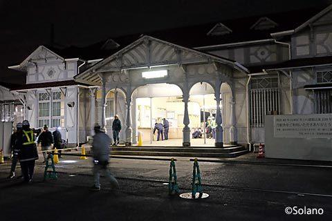 浜寺公園駅、明治の駅舎最後の夜、終電後すぐに封鎖