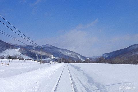 冬の石北本線・旧白滝駅、駅周辺の風景