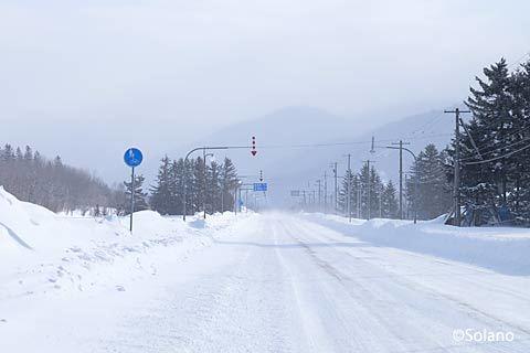 北海道、冬の駅間徒歩、上白滝駅から白滝駅へ