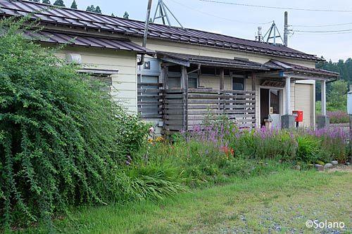 飯山線・越後岩沢駅、木造駅舎と荒れた花壇