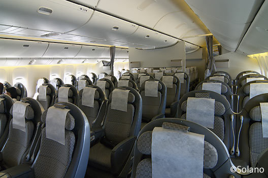 JAL・B777、プレミアムエコノミークラス客室