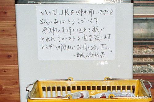 音威子府駅のプチトマトの側に添えられた駅長のメッセージ
