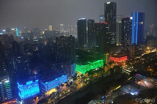 シャングリラホテル成都、客室からの眺め・夜景