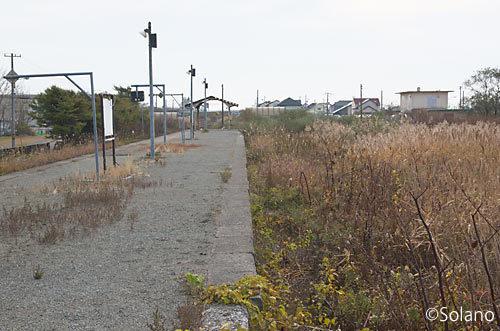 日高本線・勇払駅、草生し荒れたレール跡が残るホーム
