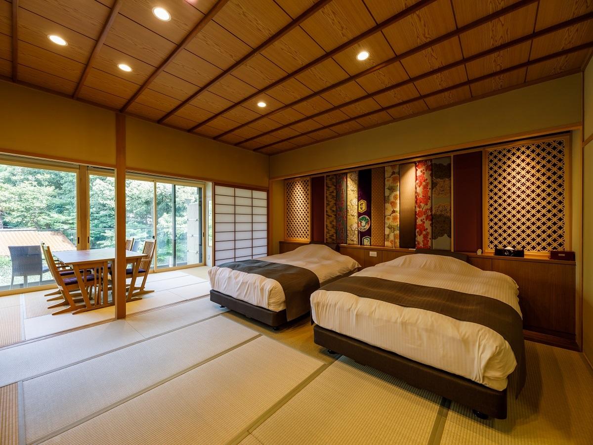 ひのき展望露天風呂付「古代紫」12.5畳+和ベッド〈禁煙〉