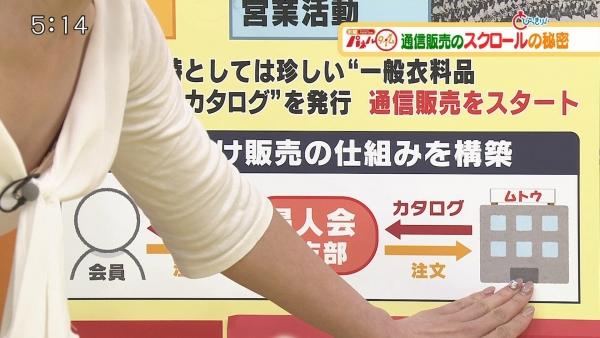 静岡朝日テレビの森直美、胸元ドアップで胸チラ、ブラチラ!!
