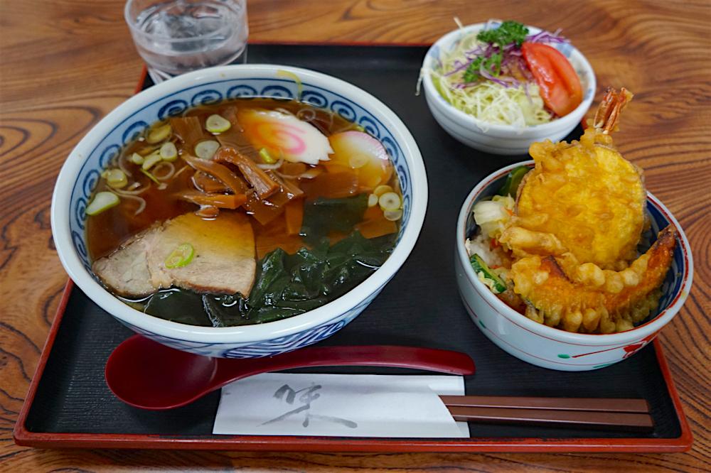 とんかつ菊乃@那珂川町矢又 ラーメン+ミニ天丼