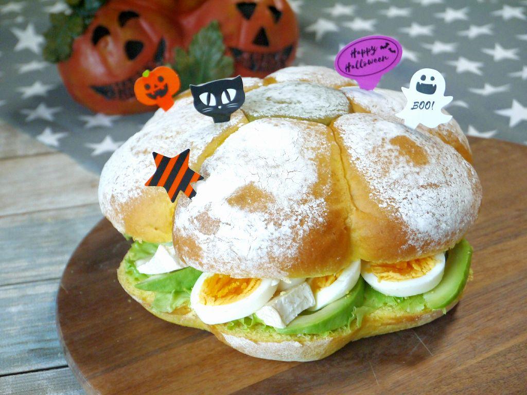 ハロウィンパーティーのメニューに!「かぼちゃ生地のジャックオランタンサンド」の作り方☆