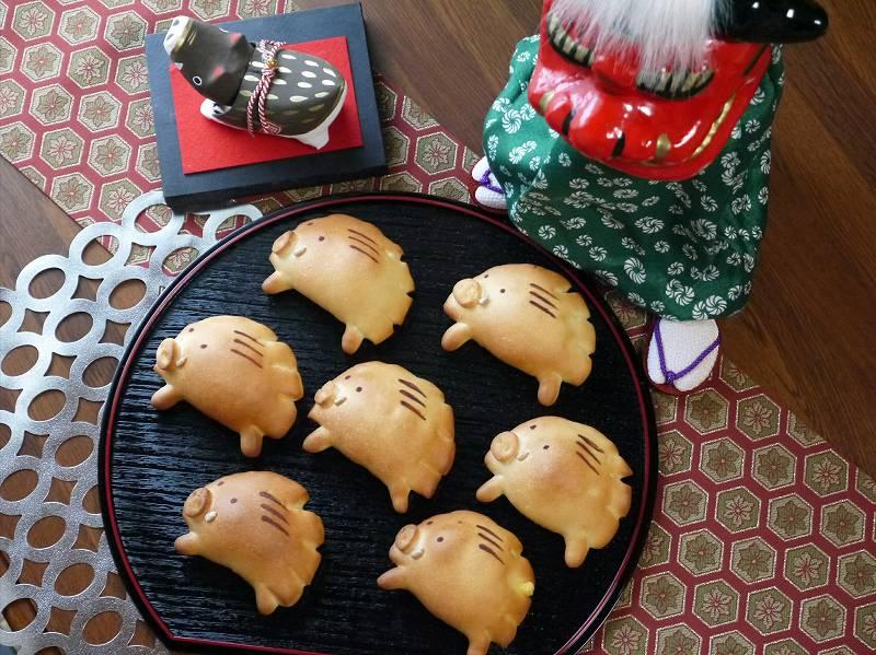 「お正月☆猪パン」の作り方☆クリームパンの猪アレンジ!