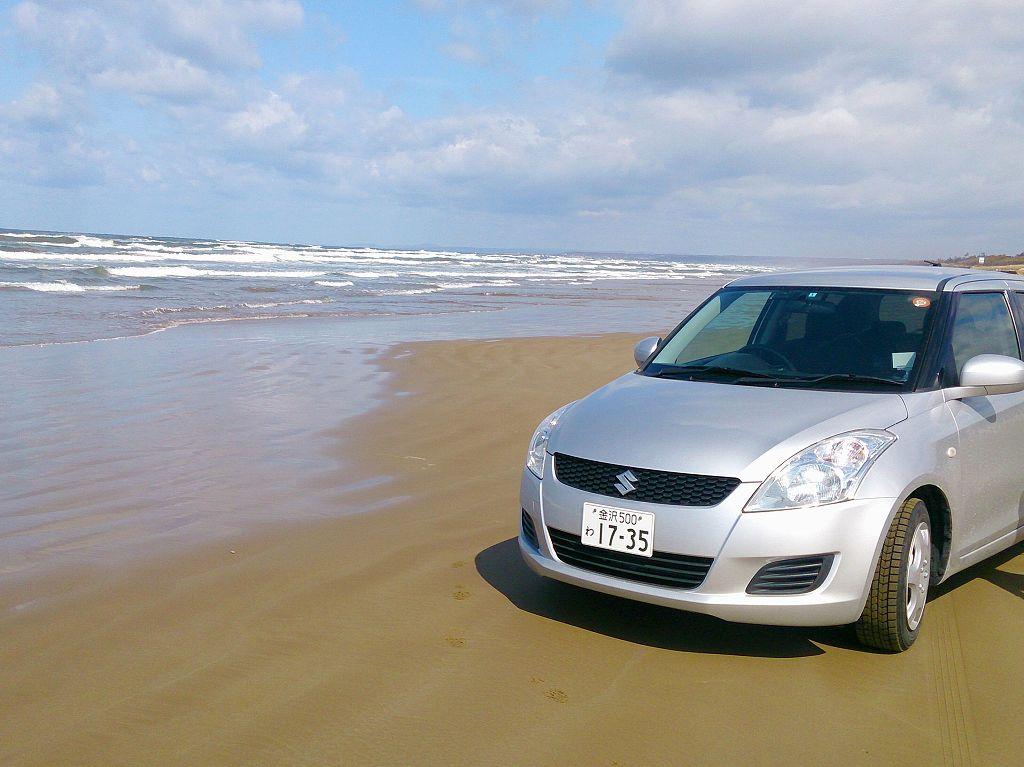 「千里浜なぎさドライブウェイ(石川県羽咋郡)」絶景&感動!日本で唯一車で走れる砂浜