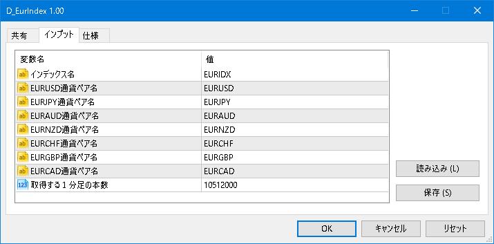 D_EurIndex:パラメータ設定